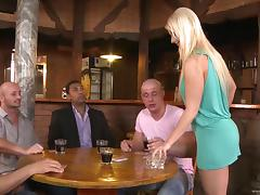 Interracial gangbang sex clip with blonde waitress Mischel Channson
