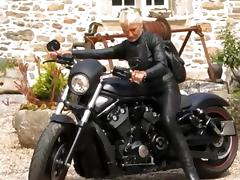 Hot leather granny biker