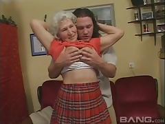 Young stud exploiting an amateur horny grandma Maria