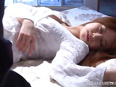She wakes up to guys fondling and fucking her Japanese body