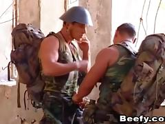 Army studs take a break from patrol for an afternoon of anal sex