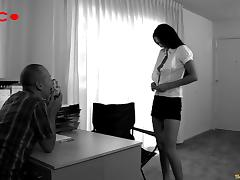 Long haired brunette sucks his cock clean after being plowed hardcore