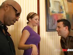 Randy wife fucking an extremely hung black man in front of her hubby