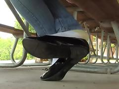 Jasmine black flats shoeplay in socks PREVIEW