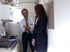 Fantastic slim Japanese MILF gets fucked by her boss