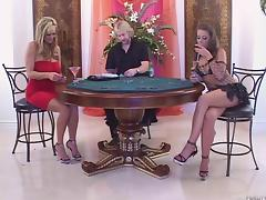 Card dealer and two glamorous sluts have a threesome