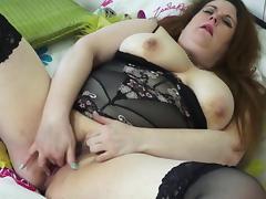 British big beautiful BBW fingering herself with passion