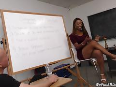 White guys line up to gangbang this slutty black chick in class