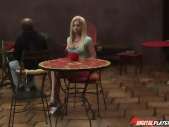 Amazing blonde chick allows the two guys to hump her snatch