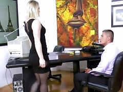 Secretary Ash Hollywood fucking in black stockings