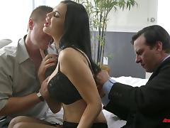 Busty bombshell in stockings gets nailed while her husband watches