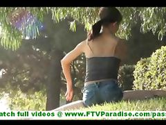 Sensi stunning brunette flashing panties and flashing pussy and toying pussy outdoors