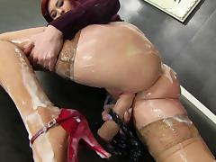 Nice ass redhead get coated in slime after blowing a gloryhole boner