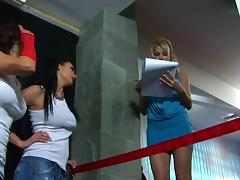 Angie Savage in a hot all-chicks threesome featuring a vibrator