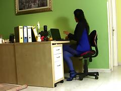 Milf in the office in sexy dress blue