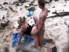 Couple spied fucking in the beach