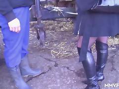 German Milf Inspector picks on the farmer