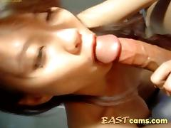 Korean GF sucks a sausage