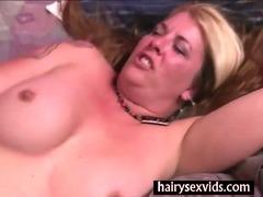 Hairy blonde twat fucking