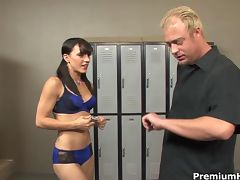 Kirra Lynne punished with rock hard stick