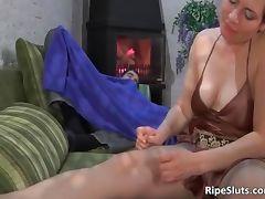 Busty mature brunette slut sucks on hard