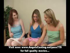 Three superb sexy lesbian girls walking and talking outside