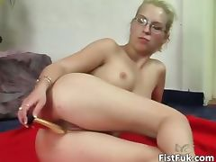 Blonde slut with glasses having fun part5