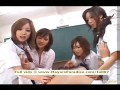Japanese AV girls are cock teasing nurses