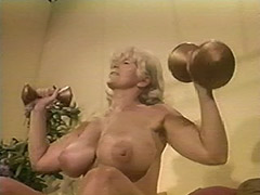 Muscled Chesty Granny Lifts Weights all Naked 1970
