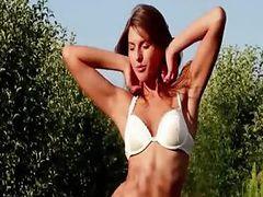 Beautiful brunette woman teasing outdoor