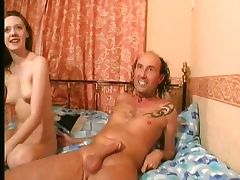 British tart with cute titties sucks and fucks
