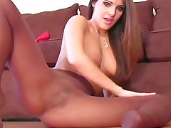 Sheer pantyhose girl talks dirty