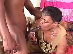 Chubby Ebony Granny Gets a Teen Cock In Her Mouth and Pussy