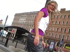 Nerdy girl blows him in public