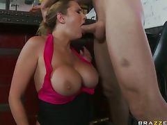 Slutty Waitress Alanah Rae Titty Fucks and Deep Throats a Customer