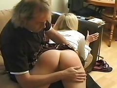 Schoolgirl spanked on her sexy