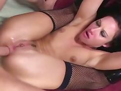 Taylor rain in fishnet stockings gets hard anal