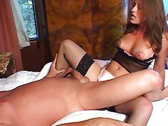 Hot MILF has fun with her male slave