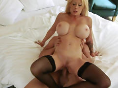 Big titty blonde Candy Manson is riding on dick
