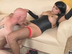 Jamie the sexy transsexual prostitute gets fucked on a sofa