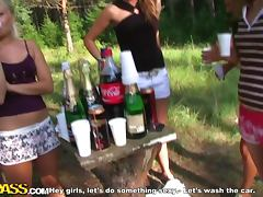 Crazy Picnic and Carwash Outdoors with Hot Chicks