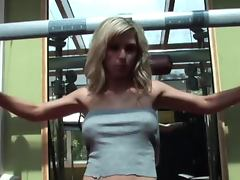 Adorable Andrea Marie shows her naked body in gym