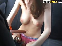 Busty Beautiful Girl Giving a Blowjob in the Backseat of a Car