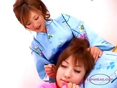 Busty Asian Girl In Kimono Kissing Getting Her Nipples Sucked On The Floor In The Roo