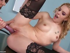 Bewitching doll Cindy Hope with tattoo likes to lick her cuties vagina