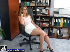 Katalin the sexy secretary plays with her pussy in the office
