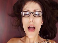 Nerd Vivian in glasses assfucked
