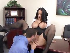 Cute office girl with big boobs gets nailed on a sofa