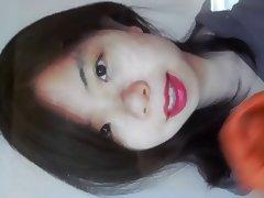 Cum tribute on a shy lipstick asian girl
