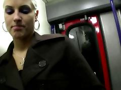 Metro blowjob as a casting for euro blonde slut